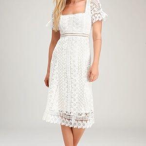 White Tea Length Dress - Lace (Small)